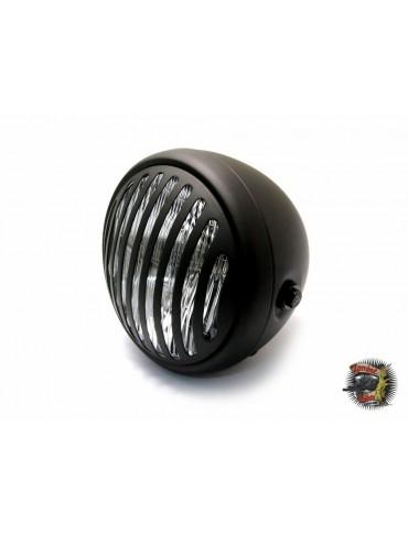 """Phare diamètre 6 3/4"""" métal noir mat 3 avec grille - ampoule halogène H4/55W"""