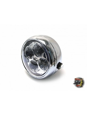 "Phare diamètre 5 1/2"" chrome 4 led"