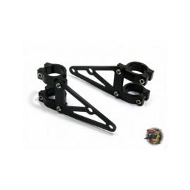 Support Feu aluminium noir mat tube de fourche 38/39mm - paire