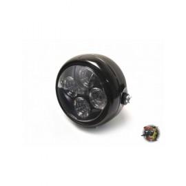 "Phare diamètre 5 1/2"" chrome 4 led noir"