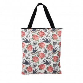 Tote Bag Skull and Roses
